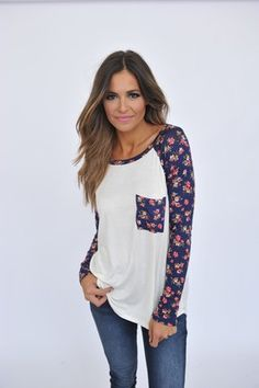 Navy Floral Sleeve Top- Ivory