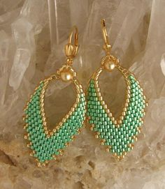 Russian Leaf Earrings  Mint Green