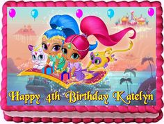 Shimmer and shine edible image cake topper party decorations frosting sheets Happy Birthday Clip Art, Birthday Clips, Birthday Cake For Daughter, Girl Birthday, Shimmer And Shine Cake, Blacklight Party, 5th Birthday Party Ideas, Edible Cake Toppers, Cupcake Toppers