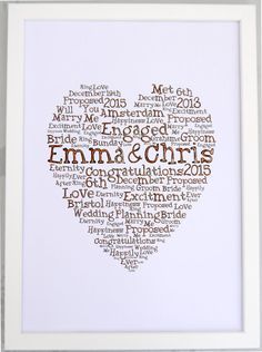 Wedding Gift Personalised Canvas Print Letter Word Art Heart