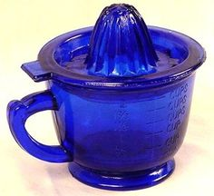 Cobalt Blue Glass Juicer w/ Measuring Cup