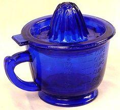 Cobalt Blue Glass Juicer w/ Measuring Cup