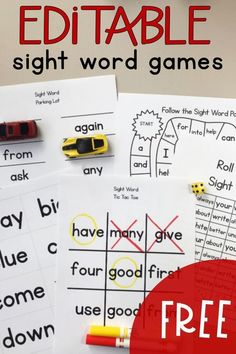 FREE Sight Word Educational Games for Homeschool - Homeschool Giveaways Fry Sight Words, Teaching Sight Words, First Grade Sight Words, Sight Word Practice, Sight Word Activities, Phonics Activities, First Words, Second Grade Games, Second Grade Freebies
