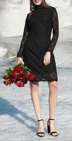 Annabella Black Lace Mock Neck Dress ~ Save 40% for a limited time only - use code: Christmas40