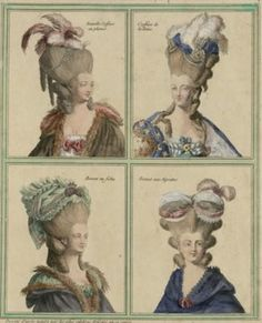 4 x Marie-Antoinette, coiffures (hair styles). Corsage, I Am A Queen, My Children, Costumes, History, Hair Styles, Poufs, 18th Century, Queen Mary