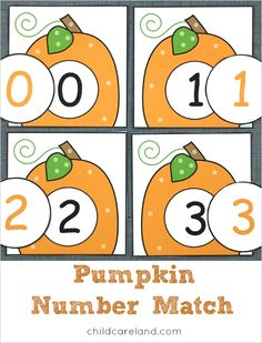 Pumpkin number match for number recognition and review.