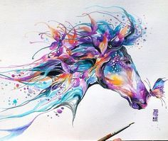 Watercolor horse. Would love this for a tattoo.