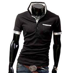 Polo T-shirt à manches courtes ajusté Casual chic Coton Fashion Fitted