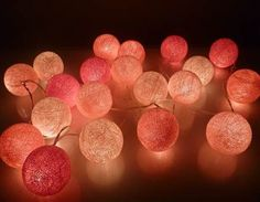 Pink Tone Cotton Ball String Lights http://www.partysuppliesnow.com.au/