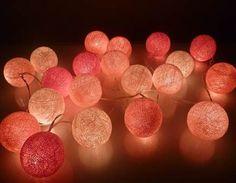 Pink String Lights Pink String Lights Cotton Balls Fairy Lights Bedroom Home Decor