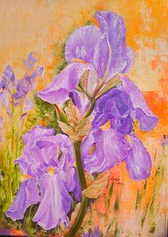 """Irisi"" pictura ulei/panza, 2018, 70cm/50cm Iris, Oil On Canvas, Painting, Irises, Painted Canvas, Painting Art, Paintings, Oil Paintings"