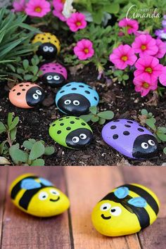 15 Inspiring DIY Painted Rock Ideas - - 15 best painted rock ideas: creative arts & crafts for kids & family. DIY home garden decorations & gifts by painting beautiful designs on stones & pebbles! Pebble Painting, Pebble Art, Stone Painting, Diy Painting, Diy Garden Decor, Garden Decorations, Garden Crafts For Kids, Rainbow Diy, Rainbow Rocks