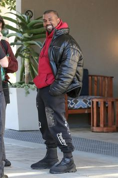 eacffc6e Kanye West wearing Yeezy Boost 1050 Sneakers, Brain Dead Gustavo Sweatpants  Washed Black, Balenciaga