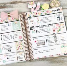 Second half in my horizontal Erin Condren Life Planner using our Hello Spring Kit Notebook Organisation, Planer Organisation, Diy Organization, Cute Planner, Weekly Planner, Happy Planner, Weekly Agenda, Work Planner, Weekly Schedule
