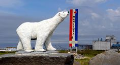 A polar bear welcomes you to the town of Churchill, Manitoba, Canada.
