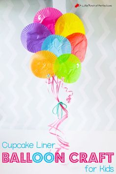 Adorable Cupcake Liner Balloon Craft for Kids is part of Birthday crafts For Kids We made an adorable bunch of balloons with cupcake liners We were talking about layers the other day and this craf - K Crafts, Daycare Crafts, Toddler Crafts, Crafts For Kids, Children Crafts, Ocean Crafts, Craft Kids, Easy Crafts, Carnival Activities
