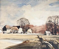 View Suffolk Farm by Rowland Hilder on artnet. Browse upcoming and past auction lots by Rowland Hilder. Watercolor Painting Techniques, Watercolor Drawing, Watercolor Landscape, Landscape Paintings, Australian Painting, Art Tutor, Cityscape Art, Black And White Drawing, Flower Pictures
