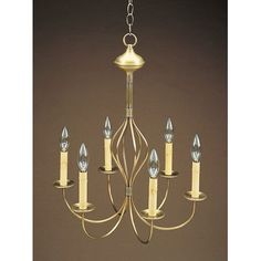 Northeast Lantern Sockets Center Bulge J-Arms Hanging 6 Light Candle-Style Chandelier Finish: Dark Brass