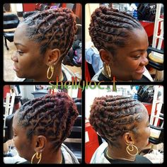 Updo on short locs. Dreads Styles For Women, Short Dread Styles, Short Dreadlocks Styles, Short Locs Hairstyles, Short Dreads, Dreadlock Styles, Natural Hair Styles For Black Women, My Hairstyle, Twist Hairstyles