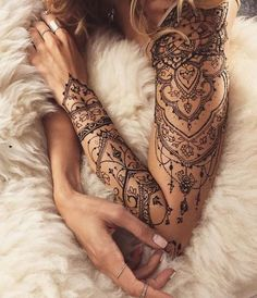 Cute henna lace arm tattoo ideas you should try 22