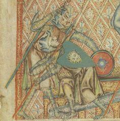 Soldat mit Buckler, Holkham Bible, fol. 34v, 1327-1335, London.
