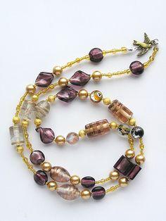 kette lila (1) purple glass beads necklace bird