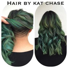 Nape undercut with green hair