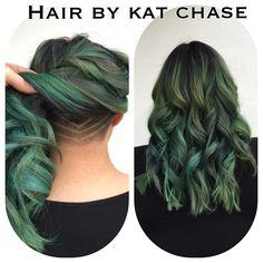 Nape undercut with green hair