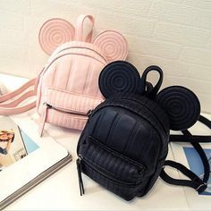 Disney Minnie Mickey Mouse Ears Swirl Back Pack- Available In 3 Colors- Black, Pink, Or Beige