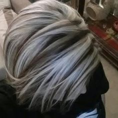 chunky highlights for gray hair - Google Search
