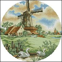 Vintage Dutch scene in cross stitch