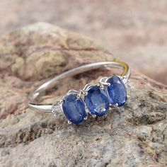 10K White Gold Himalayan Kyanite and Diamond Ring