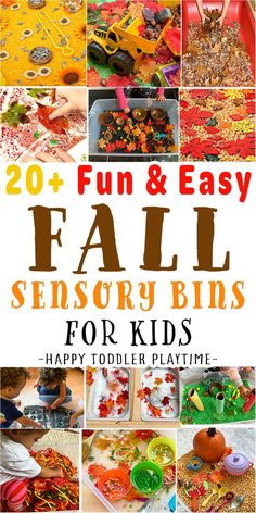 If you are looking for fun, easy and creative Fall sensory bins and other fun sensory activities for your toddler or preschooler this Fall? Then you have come to the right place! The list below has tons of the best sensory bins and activities like sensory bags, bottles and play dough activities for toddlers and preschoolers. Fall Activities For Toddlers, Spring Activities, Infant Activities, Fun Activities, Fall Sensory Bin, Baby Sensory, Sensory Bins, Fall Arts And Crafts, Fall Crafts For Kids