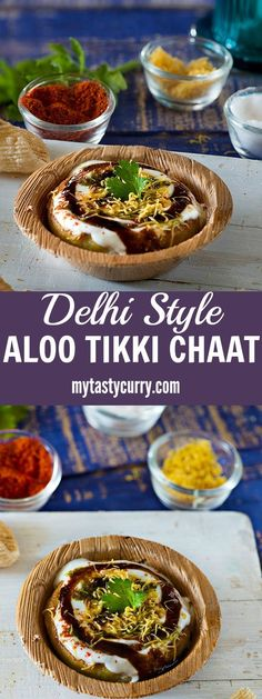 Aloo tikki is a famous street food of Delhi. A crispy and tasty Aloo tikki chaat is popular in North India. It is made with boiled potatoes and served with a smattering of various sweet and tangy chutneys along with various spice powders. Indian Snacks, Indian Food Recipes, Vegetarian Recipes, Snack Recipes, Cooking Recipes, Ethnic Recipes, Aloo Recipes, Cake Recipes, Recipies