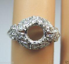 Antique Diamond Engagement Ring Setting Mounting Mount Platinum Hold-5MM Wedding Ring Size ~ 2.75 UK-E1/2.