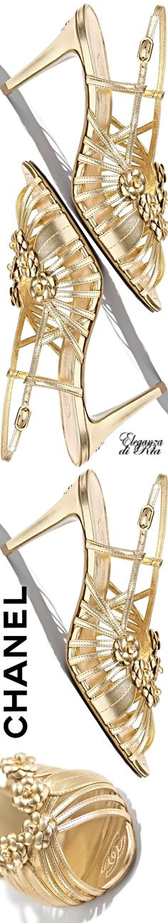 #chanel #laminated #lambskin #gold #sandals Chanel Lambskin Gold Sandals #eleganzadiria Eleganza di Ria