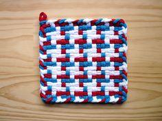 Red White and Blue Pinwheel Vintage Pattern Woven Cotton Loop Loom Potholder Modern Farmhouse Kitchen Loft Style. $5.00, via Etsy.