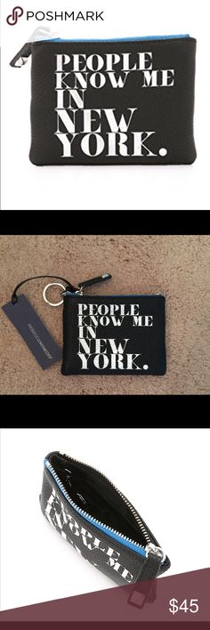 🆕 Rebecca Minkoff Betty Pouch 💯% authentic Rebecca Minkoff Betty Pouch  NWT foiled graphic print People Know Me In New York pebbles leather zip closure key ring attachment  never been used Rebecca Minkoff Bags