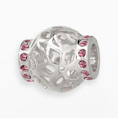 Individuality Beads Sterling Silver Pink Crystal Openwork Fl Er Bead