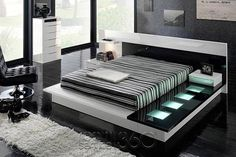 Tokyo 710 Walk-on Platform Bed in White & Black Lacquer w/ Right Walk-on Platform