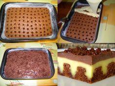 SASTOJCI:   Za biskvit:  6 jaja  6 žlica šećera  6 žlica brašna  4 žlice kakaa  4 žlice čokolade u prahu  1 prašak za pecivo  1 van...