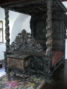 Antique Gothic bed very detailed carved bed canopy post dark wood. Victorian Furniture, Antique Furniture, Cool Furniture, Furniture Ideas, Gothic Interior, Gothic Home Decor, Interior Office, Modern Interior, Interior Design