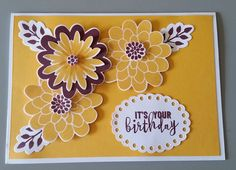 Birthday Card - Designed by Sandy using Stampin Up Flower Patch stamp set and Dies and other paper craft products.