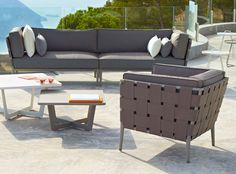 contemporary outdoor living lounge furniture in a gorgeous taupe Lounge Furniture, Garden Furniture, Outdoor Furniture Sets, Outdoor Sofa, Outdoor Living, Outdoor Decor, Modern Chairs, Contemporary, Denmark