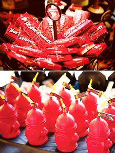 red hots or hot tamales for favors. Red orange and yellow starbursts too.