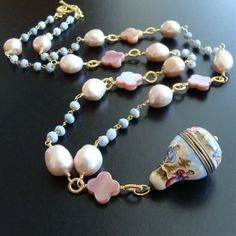 Reserved for Anna - Antique Enameled Vinaigrette Blue Opal MOP Quatrefoils Baroque Pearls Necklace - Brezza Dolce
