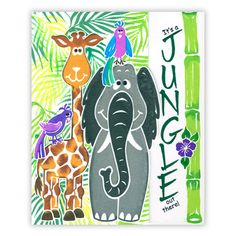 Seven Playful Stamped Jungle Cards. Cheerful jungle characters, such as the innocent elephant and lovable giraffe, are mix and matched in a variety of jungle cards. Unique stamps make homemade cards simple. Forget making this as a card, set it on canvas for the kids wall