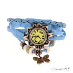 Leder Armbanduhr Schmetterling VINTAGE babyblau  im...