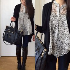 Forever 21 horse print blouse (old), LOFT waterfall pocketed cardigan, Ann Taylor jeans, Stuart Weitzman Lander Boots, Luis Vuitton Empreinte Lumineuse PM in Infini