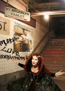 "From The Best of the Fest Benefit Performer: Brenda Adelman in a shot from her solo show ""My Brooklyn Hamlet"""